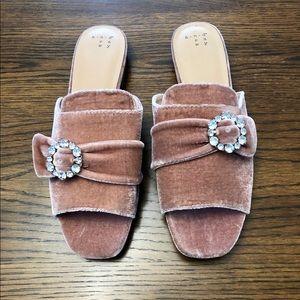 A New Day Dina Velvet Embellished Slide Sandals
